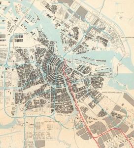 Map of metro system Amsterdam 1968 (source: http://www.noordzuidlijnkennis.net/bibliotheek/1968-plan-stadsspoor/)
